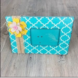 Picture Frame for Girl Flower Teal/White/Yellow